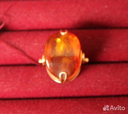 Кольцо с янтарем из красного золота 585 пробы (арт.80530) | 480x540