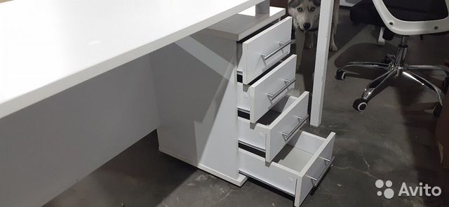 Стол рабочий белый с встроенной тумбой б.у  89220229307 купить 5