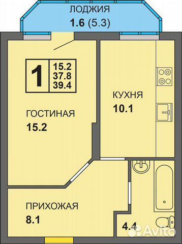 1-к квартира, 40 м², 8/9 эт.  89316006007 купить 5