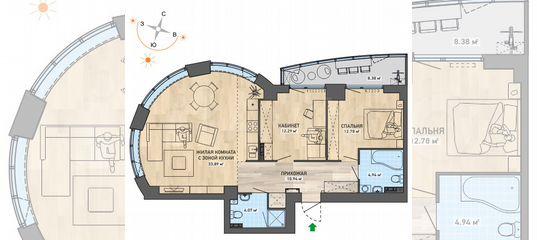 2-к квартира, 87.3 м², 3/37 эт. в Свердловской области | Покупка и аренда квартир | Авито