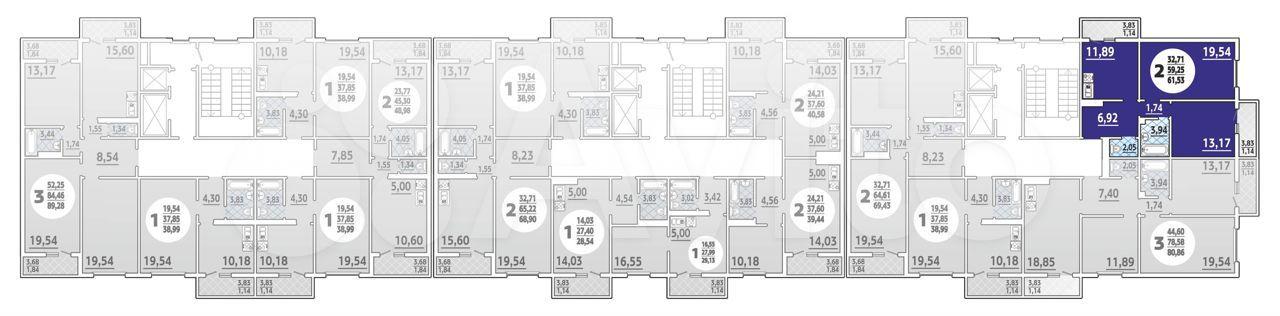 2-к квартира, 61.5 м², 15/16 эт.  88613255629 купить 1